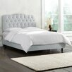 Skyline Furniture Olivia Shantung Upholstered Panel Bed in Silver