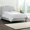 Skyline Furniture Olivia Shantung Upholstered Panel Bed in Silver