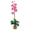 <strong>Nearly Natural</strong> Liquid Illusion Single Phalaenopsis Silk Orchid Arrangement in Dark Pink