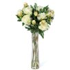 Nearly Natural Peony with Cylinder Silk Flower Arrangement in White