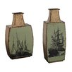 Sterling Industries 2 Piece Metal Vase Set with Ship Print