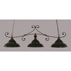 Toltec Lighting Curl 3 Light Billiard Light