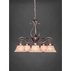 Toltec Lighting Olde Iron 5 Light  Chandelier with Mission Glass Shade