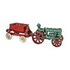 Design Toscano Fordson Tractor with Spill Wagon Replica Farm Toy Tractor Figurine
