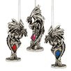 <strong>Design Toscano</strong> Dragons of the Amesbury Holiday Gemstone Ornament (Set of 3)