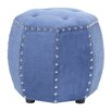 Madison Park Madison Park Brianna Leather Octagon Tufted Ottoman