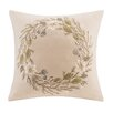 Madison Park Wreath Embroidered Square Pillow