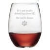 Susquehanna Glass The Cat is Home Stemless Wine Glass (Set of 4)
