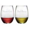 Susquehanna Glass Nauti Girl and Bad Buoy Stemless Wine Glass (Set of 2)