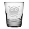 <strong>Susquehanna Glass</strong> Folk Art Owl Double Old Fashioned Glass (Set of 4)