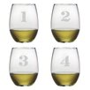 Susquehanna Glass 4 Piece Counting Stemless Wine Glass Set