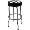 "Checker Flag 29.5"" Backless Chrome Barstool"