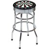 "Dart Board 30.5"" Backless Chrome Swivel Barstool"