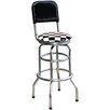 "Checker Flag 30.5"" Chrome Swivel Barstool"