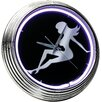 "On The Edge Marketing Lady Silhouette 14.75"" Neon Wall Clock"