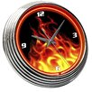 """On The Edge Marketing Flames 14.75"""" Fire Neon Wall Clock"""