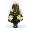 Bougainvillea Metal Trophy Small Vase with Pensularia, Bell Reed and Hydrangea
