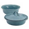 Rachael Ray Cucina 3-Piece Stoneware Round Casserole and Lid Set