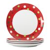 "Hoot's Decorated Tree 9.4"" Polka Dots Salad Plate (Set of 4)"