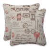 Pillow Perfect Carte Postale Throw Cushion (Set of 2)