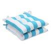 Pillow Perfect Cabana Stripe Wrought Iron Seat Cushion (Set of 2)