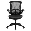 Flash Furniture Mid-Back Leather Chair with Arms