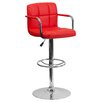 <strong>Flash Furniture</strong> Contemporary Quilted Vinyl Adjustable Height Bar Stool with Arms