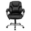 Flash Furniture Leather Executive Chair with Titanium Base and Thick Padded Arms