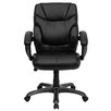 <strong>Leather Executive Chair with Gun Metal Base and Thick Padded Arms</strong> by Flash Furniture
