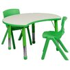Flash Furniture Height Adjustable Cutout Circle Activity Table with 2 School Stack Chairs