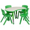 Flash Furniture Height Adjustable Cutout Circle Activity Table with 4 School Stack Chairs