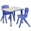Flash Furniture Adjustable Rectangular Activity Table with 2 School Stack Chairs