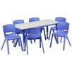 Flash Furniture Adjustable Rectangular Activity Table with 6 School Stack Chairs