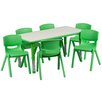 <strong>Adjustable Rectangular Activity Table with 6 School Stack Chairs</strong> by Flash Furniture