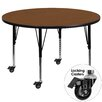 Flash Furniture Mobile Round Activity Table with 1.25'' Thick High Pressure Top and Height Adjustable Pre-School Legs