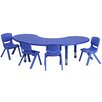 <strong>Adjustable Half-Moon Activity Table Set with 4 School Stack Chairs</strong> by Flash Furniture