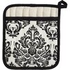 Cream and Black Damask Square Pot Mitt