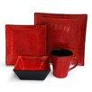 American Atelier Crimson Flare 16 Piece Dinnerware Set