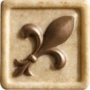 "<strong>Marazzi</strong> Romancing the Stone 2"" x 2"" Compressed Stone Fleur de Lis Insert with Bronze Inlay in Ivory"