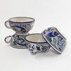 Le Souk Ceramique Aqua Fish Design 14 oz. Latte and Soup Mug (Set of 4)