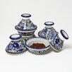 <strong>Le Souk Ceramique</strong> Aqua Fish Design Mini Tagines (Set of Four)