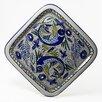"""Le Souk Ceramique Aqua Fish Design 11.5"""" Square Platter"""