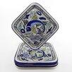 """<strong>Aqua Fish 9"""" Design Square Plates (Set of 4)</strong> by Le Souk Ceramique"""
