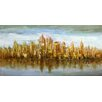 Moe's Home Collection Gold Skyline Painting Print on Canvas