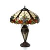 """Chloe Lighting Tiffany 25"""" H Style Victorian Double Lit Table Lamp with 30 Cabochons"""