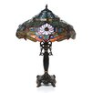 "<strong>Chloe Lighting</strong> Tiffany Dragonfly 27"" H Table Lamp with Bowl Shade"