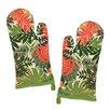 Design Imports Palm Paradise Print Oven Mitt (Set of 2)