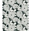 Ink Zinnia Flower Wallpaper in White / Black
