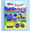<strong>Olive Kids</strong> Trains, Planes and Trucks Personalized Canvas Art