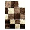 DonnieAnn Company Flash Shaggy Chocolate Geometric Square Rug